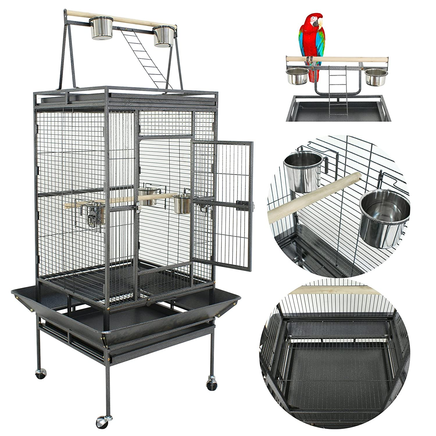 Nova Microdermabrasion 53/61/70 Bird Cage Play Top Parrot Cockatiels Parakeet Cage Macaw Finch Cockatoo prevue Wrought Iron Flight Cage W/Stand Perch Pet Supplies