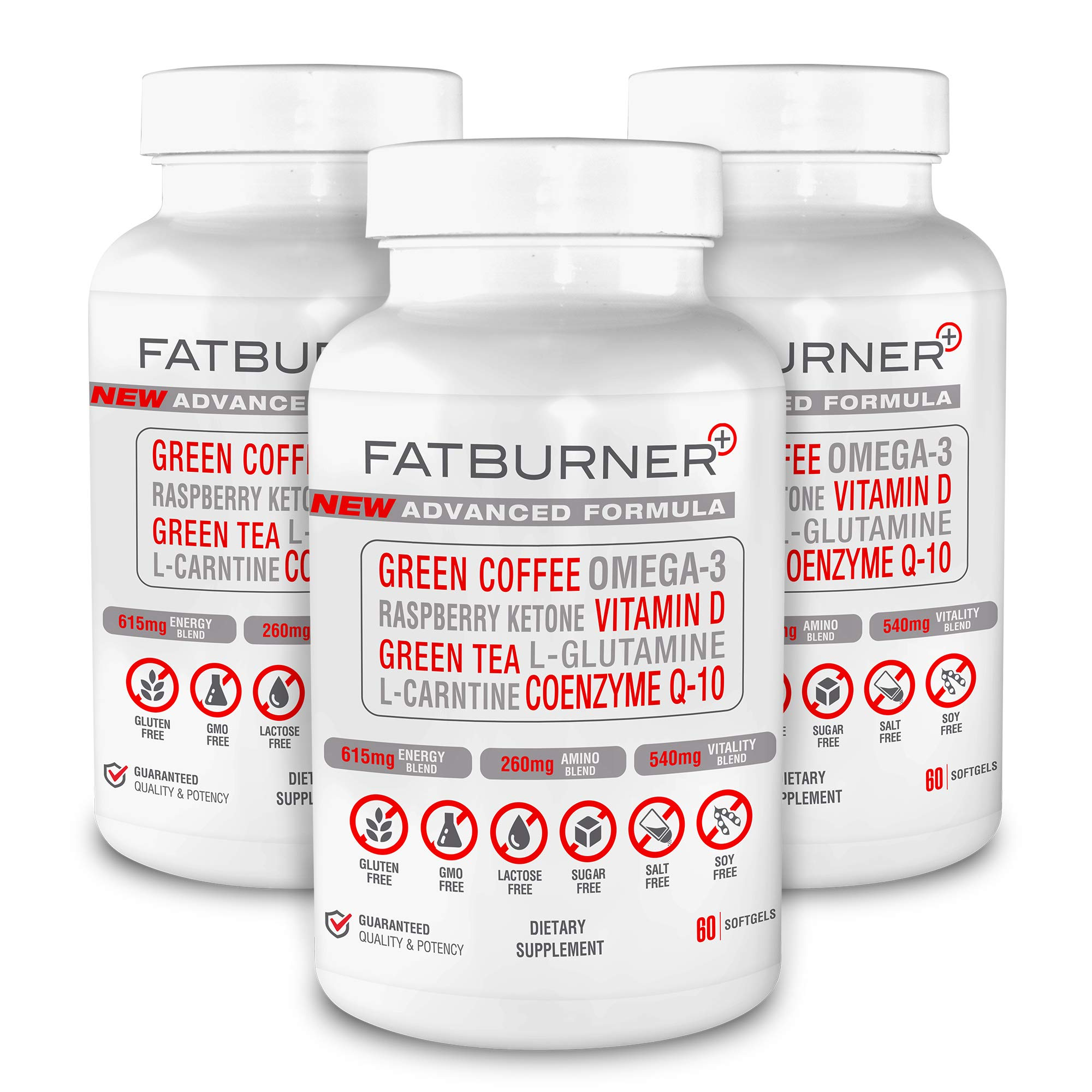 Fat Burner Plus - Advanced Weight-Loss System   Multi-Functional Supplement for Thermogenic Fat Burning + Athletic Performance + Anti-Aging (180ct. 3-Month Supply) by Plus Brands