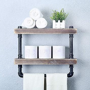 Montado en pared de madera de bambú baño Toallero Soporte Estantería Almacenamiento Rack