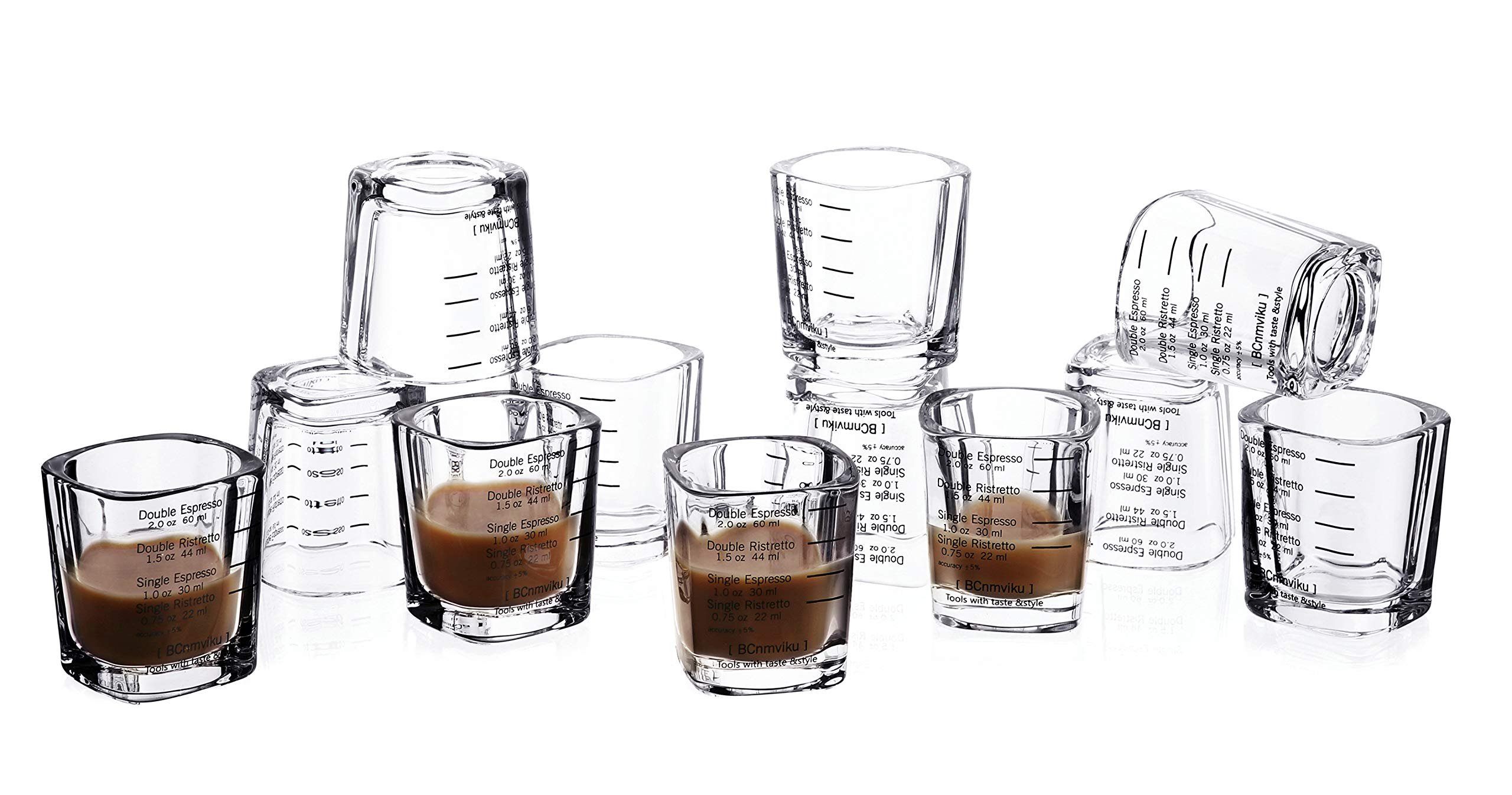 12-Pack Espresso Shot Glass Set Measuring Shot Glasses Heavy Base 2 Ounce 2.4 inch Tall Tumbler Cup for Coffee Jello Shot (12 pack)
