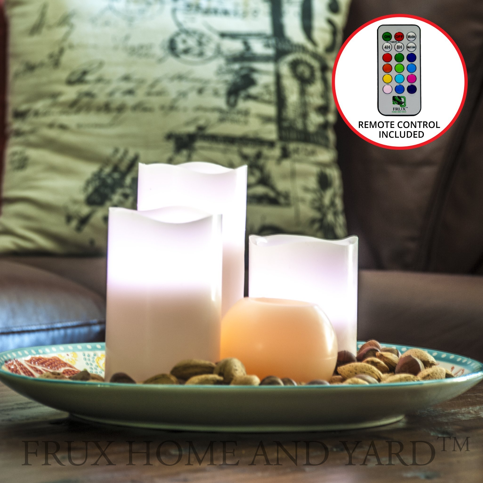 BEST FLAMELESS CANDLES WITH 12 COLOR, TIMER REMOTE CONTROL, Unscented Flickering Battery Operated Electric Candle for Home Decor, Weddings, Parties & Gifts, Set of 4' 5' 6' Pillars & BONUS Ball Candle by Frux Home and Yard (Image #2)