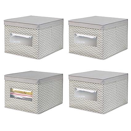 mDesign Juego de 4 cajas organizadoras de tela de polipropileno – Organizadores para armarios con tapa