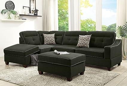 3Pcs Modern Ash Black Dorris Fabric Reversible Sectional Sofa Chaise Ottoman  Set With 2 Accent Pillows