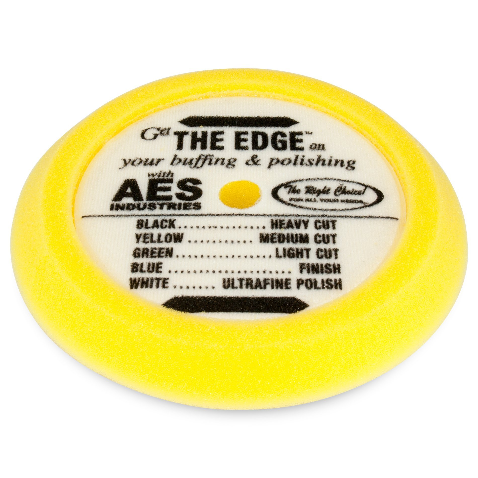 AES Industries 51735 The Edge 9.25'' Medium-Heavy Cutting Pad - Yellow (Hook and Loop) Made in USA by AES Industries
