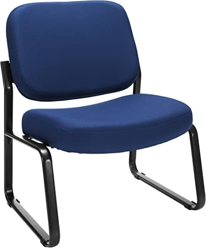 OFM Core Collection Big and Tall Upholstered Armless Guest and Reception Chair, in Navy