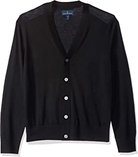 91673f7f0 MARMO DI CARRARA Mens 100% Merino Wool Cardigan Sweater Black ...