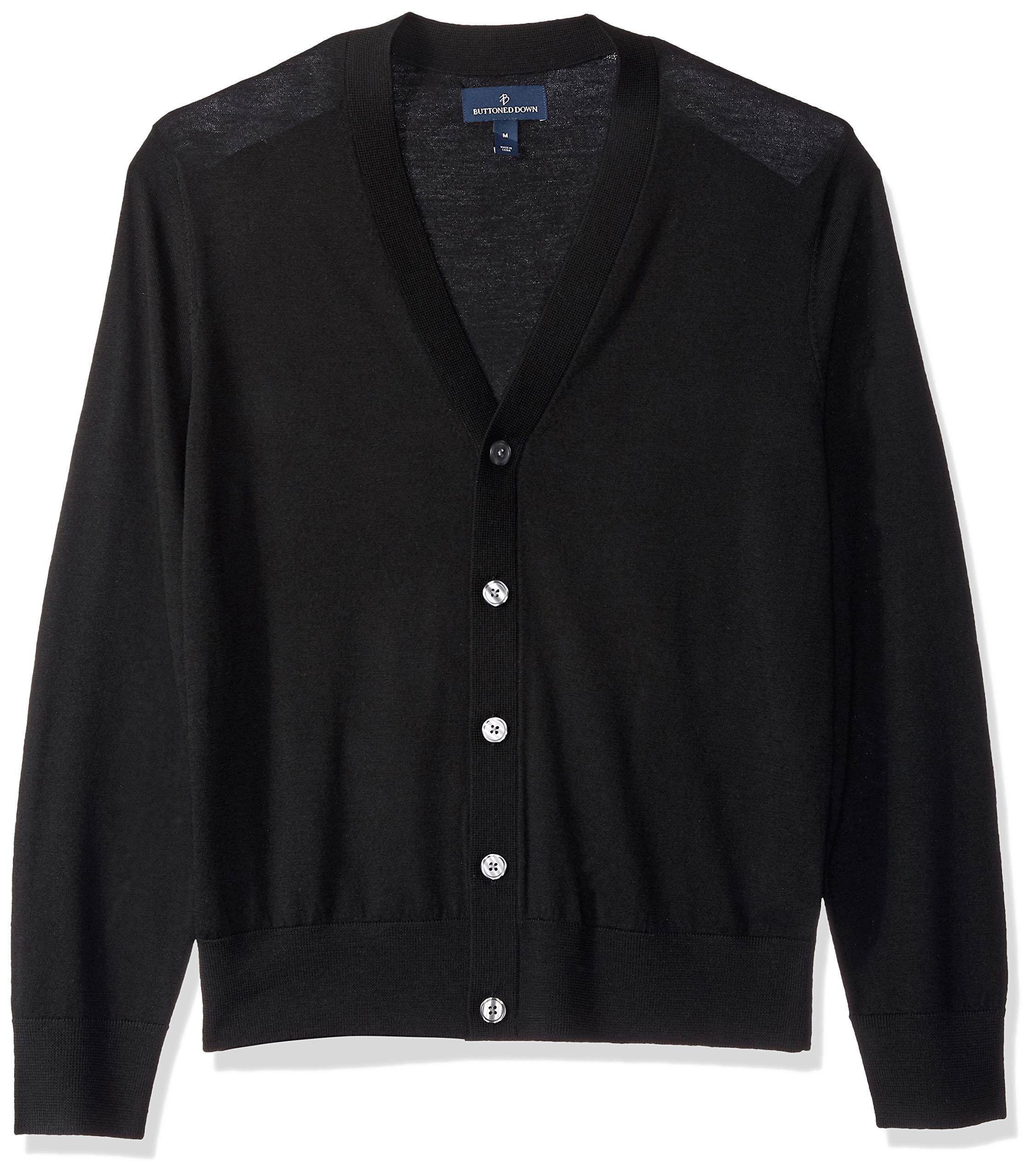 BUTTONED DOWN Men's Italian Merino Wool Lightweight Cashwool Cardigan Sweater, Black, Large