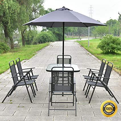 Amazon.com: colibrox -- 8pcs Patio Jardín Set Muebles Mesa ...