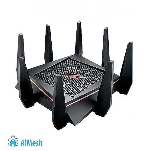Asus ROG Rapture GT AC5300 Router Gaming Tri Banda con 8 puertos Gigabit 2 puertos gaming Radar Wifi Gaming APP Link aggregation compatible con Ai Mesh wifi