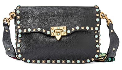 433883f35f7fc Image Unavailable. Image not available for. Color  Valentino Rockstud  Rolling Medium Guitar-Strap Shoulder Bag Black Jamaica Medium new