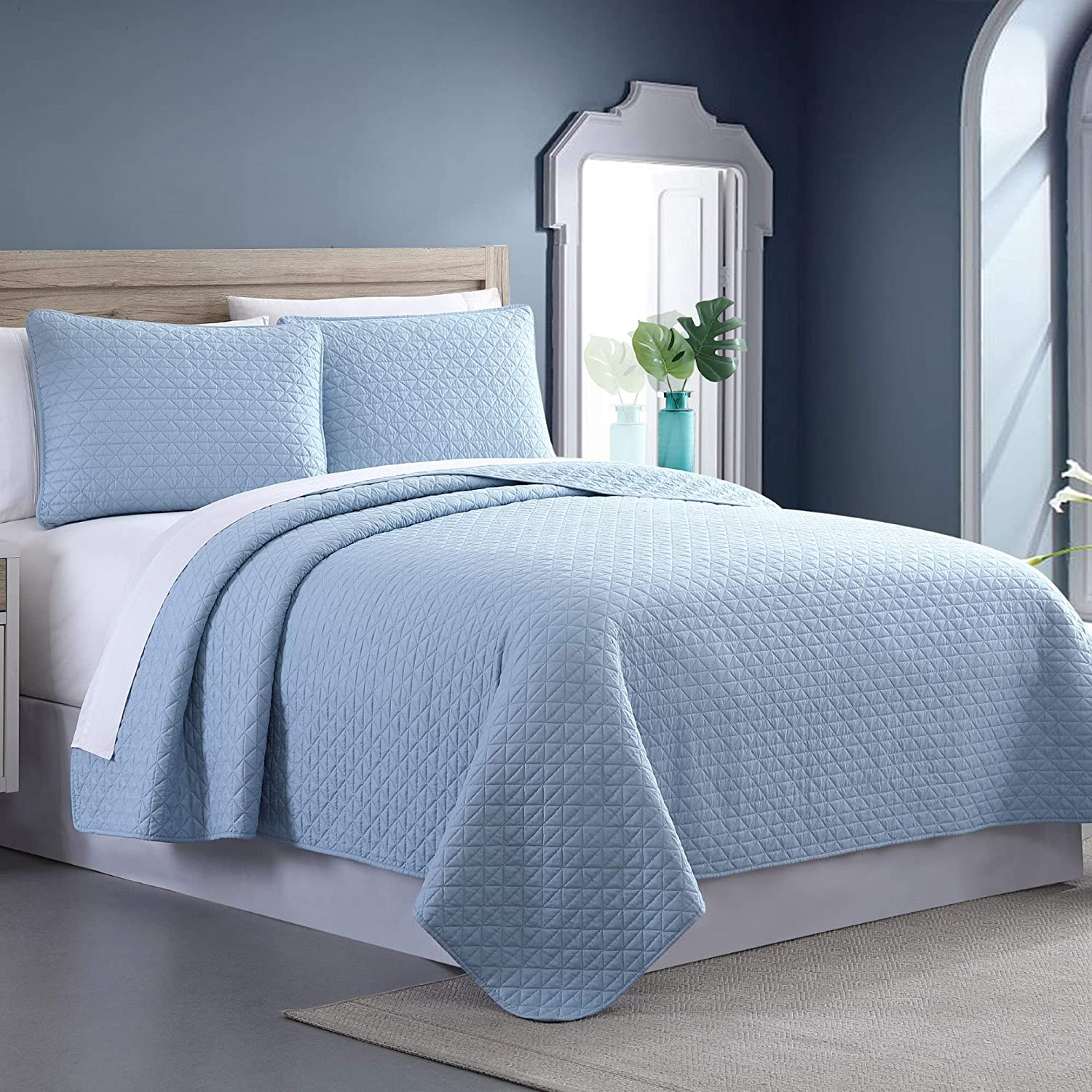 King Almond Manor Ridge 3-Piece Enzyme Washed Diamond Box Quilted Coverlet Set