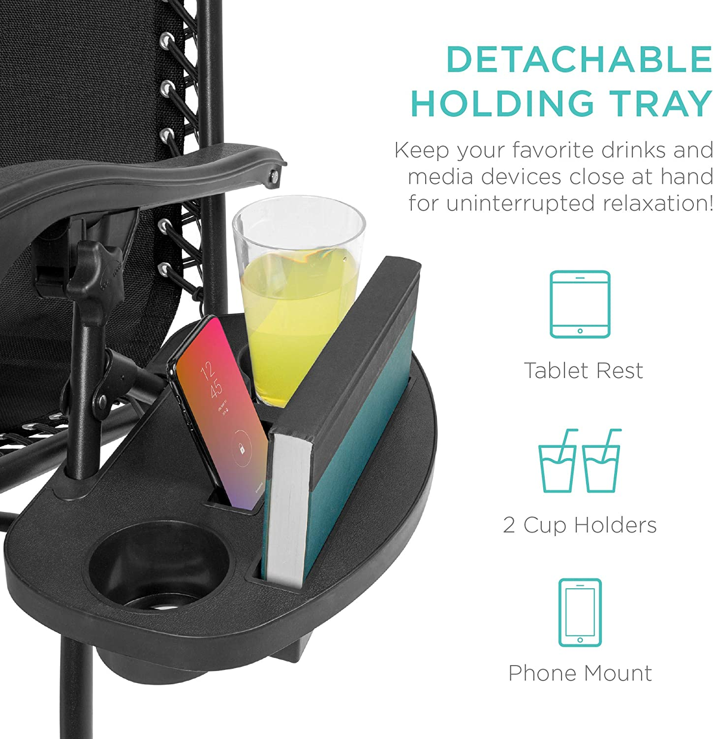 Best Choice Products Zero Gravity Chair detachable holding tray
