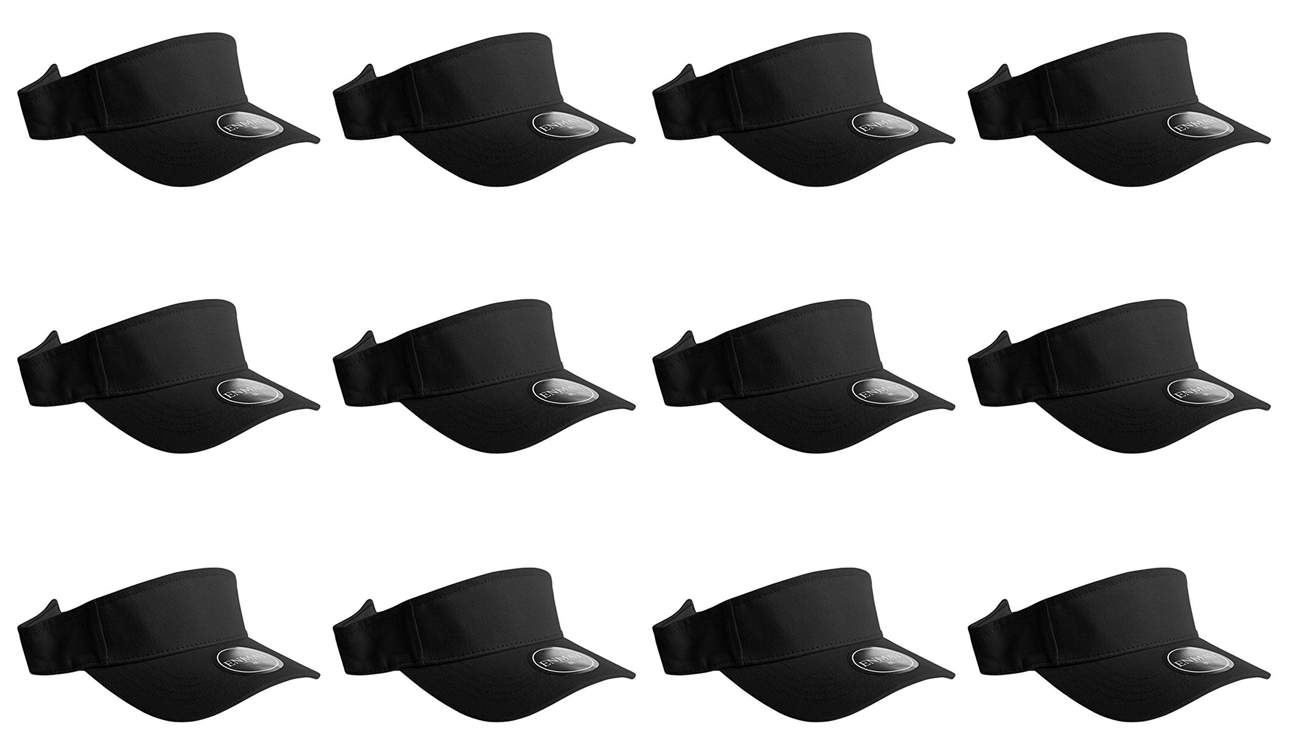 Enimay 12 Pack Plain Visor Hats Adjustable Back Strap Tennis Golf Sun Hat Black One Size