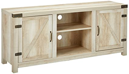 Amazon Com We Furniture White Oak Barn Door Tv Stand 58 For Flat