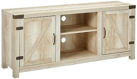 Amazon Com We Furniture W58bdsdwo Barn Door Tv Stand 58 White