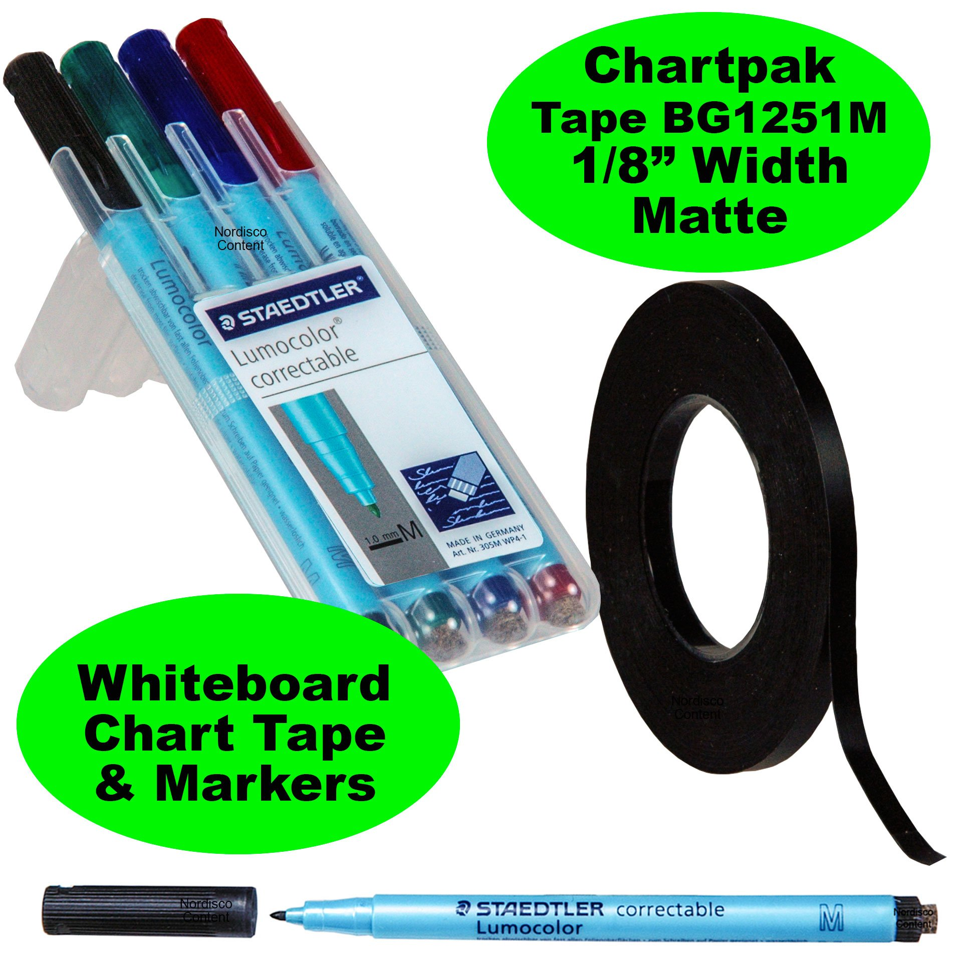 Chartpak Graphic Chart Tape Matte Black Bg1251m 1/8'' Plus a Set of 4 Staedtler Lumocolor Correctable Dry Erase Pens 1.0mm Medium Point
