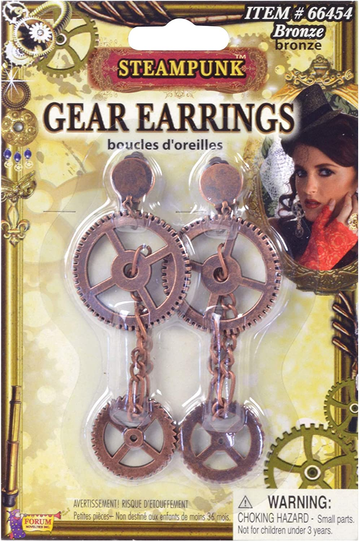 Forum Steampunk Victorian Cosplay Costume Bronze Gear Earrings