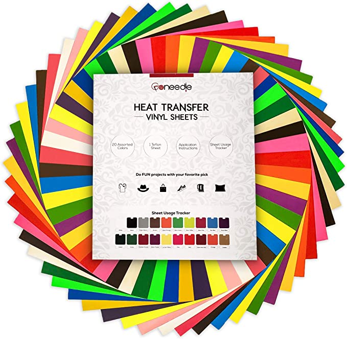 "HTV Heat Transfer Vinyl Bundle 20 Pack 12/"" x 10/"" Sheets Iron on Vinyl Silhouette"
