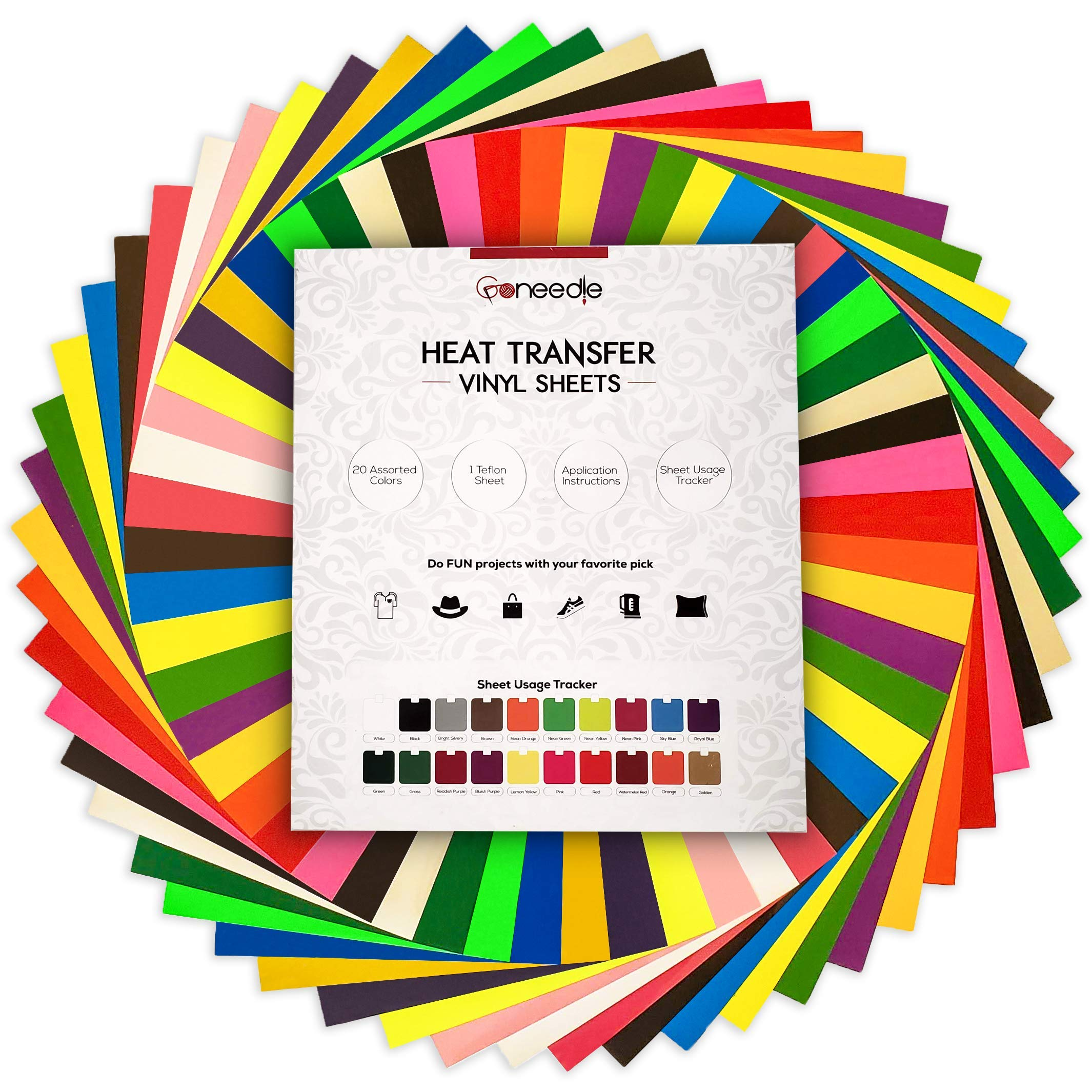 Heat Transfer Vinyl HTV Bundle: 20 Pack Assorted Colors 12''x10'' Sheets for DIY Iron On T-Shirts Fabrics - Seamless Integration with Cricut, Silhouette Cameo, Heat Press Machines   Bonus Teflon Sheet by Goneedle