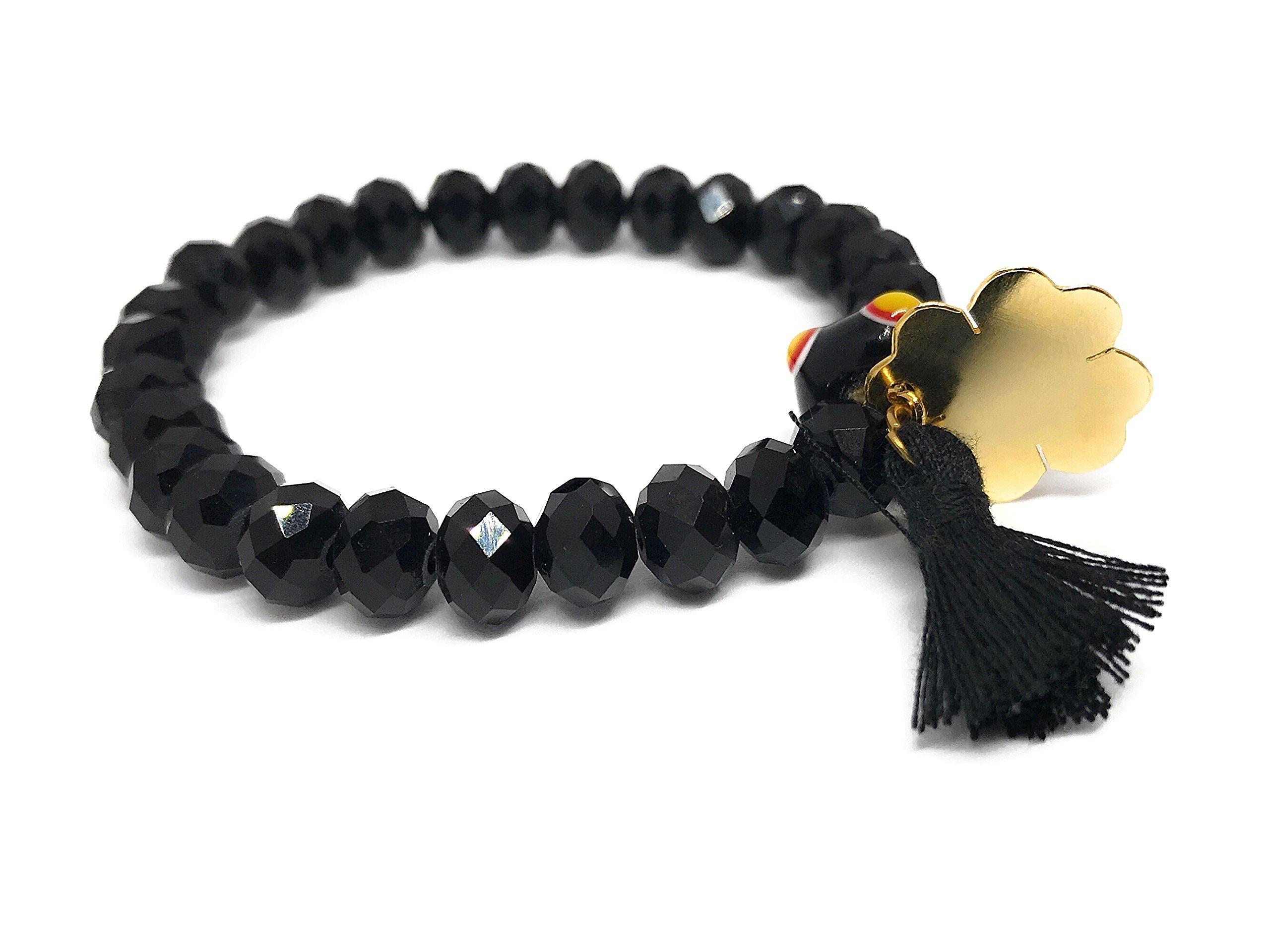 LESLIE BOULES Women Bracelet Murano Glass Crystal Beads Boho Jewelry