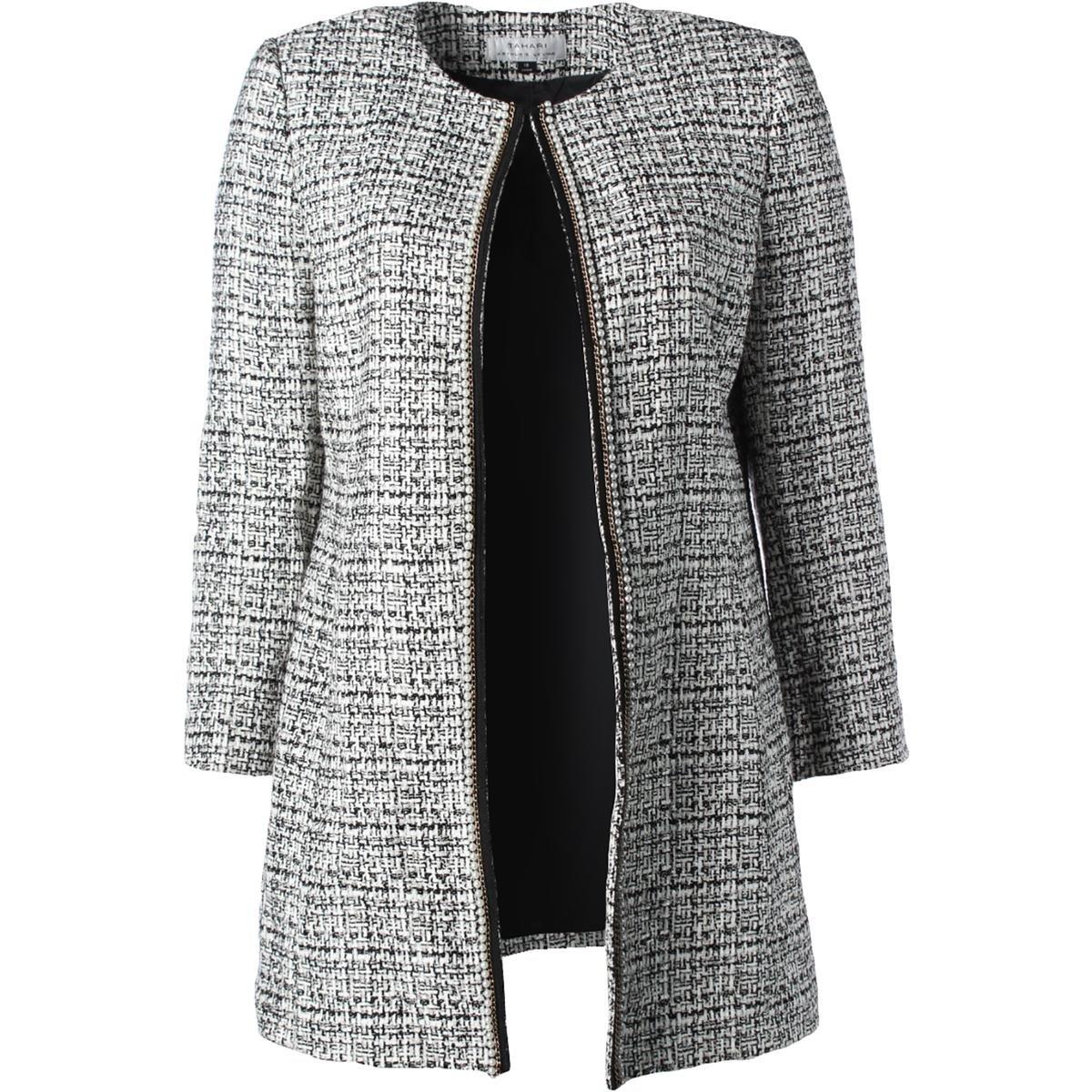Tahari ASL Womens Plus Long Sleeves Boucle Jacket Ivory 4