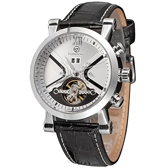 Amazon.com: Forsining Mens Automatic Tourbillon Calendar with Leather Band Wrist Watch FSG2371M3S2: Watches