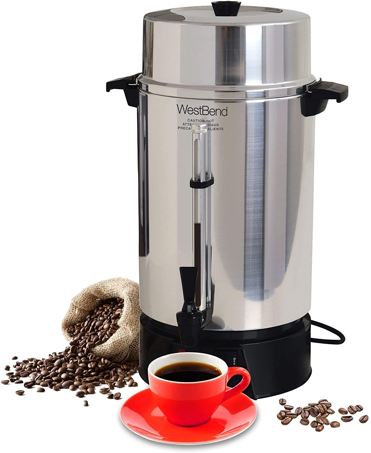B00004RC6S West Bend 33600 Highly Polished Aluminum Commercial Coffee Urn Features Automatic Temperature Control Large Capacity with Quick Brewing Smooth Prep and Easy Clean Up, 100-Cup, Silver 8193vnB1R8L