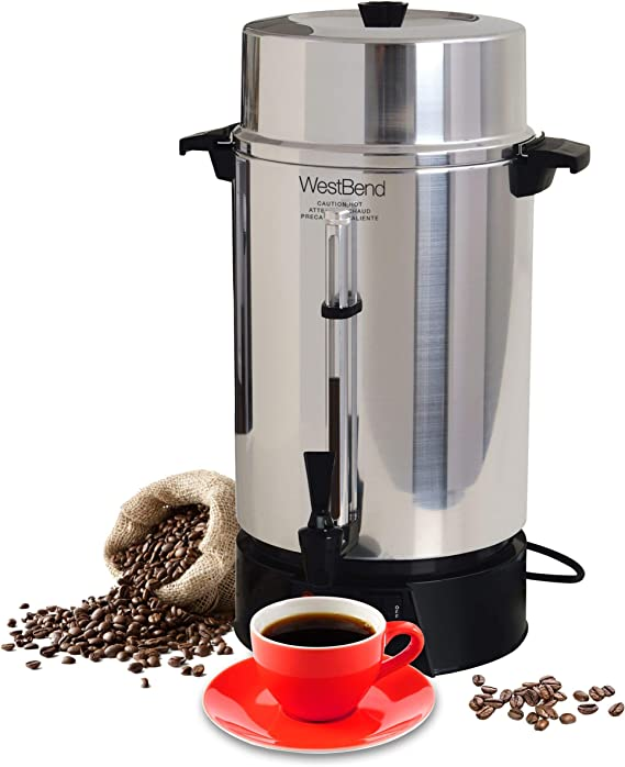Coffee Maker 100-Cup Aluminum Commercial Urn For Countertop Or Buffet Table