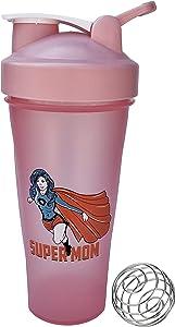 Supermom Shaker Bottle ∎ 24 oz Sport Mixer ∎ Fitness Protein Shaker ∎ Gym Bottle Blender ∎ Classic Loop Top Shaker ∎ Water Bottle ∎ Includes Steel Whisk Ball (Pink)