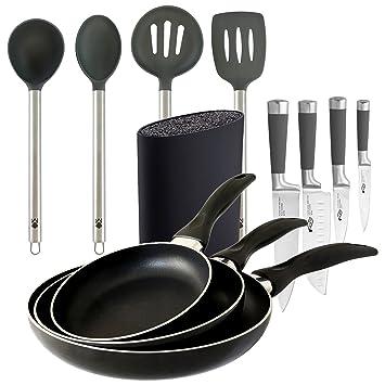 Equipa tu cocina: juego de cuchillos, tacoma, sartenes y juego de utensilios: Amazon.es: Hogar