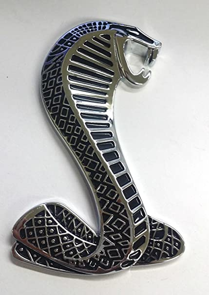 Silver Cobra Snake Grille Emblem Auto Car Logo Metal Badge Mustang Decal Brand