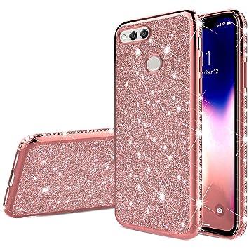 JAWSEU Funda Brillante Brillo Compatible con Huawei Honor 7X, Carcasa Purpurina Bling Glitter Diamantes Suave Silicona TPU Gel Cubierta Ultra Delgado ...