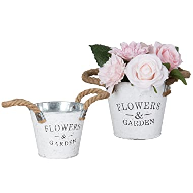 Set of 2 Rustic White Metal Garden Pail Planters, Decorative Flower Pots with Rope Handle
