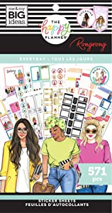 The Happy Planner Value Pack Sticker Sheets - Scrapbooking Supplies - Everyday Theme - Rongrong Collection - Multicolor - Great for Journals, Scrapbooks & Albums - 570 Stickers