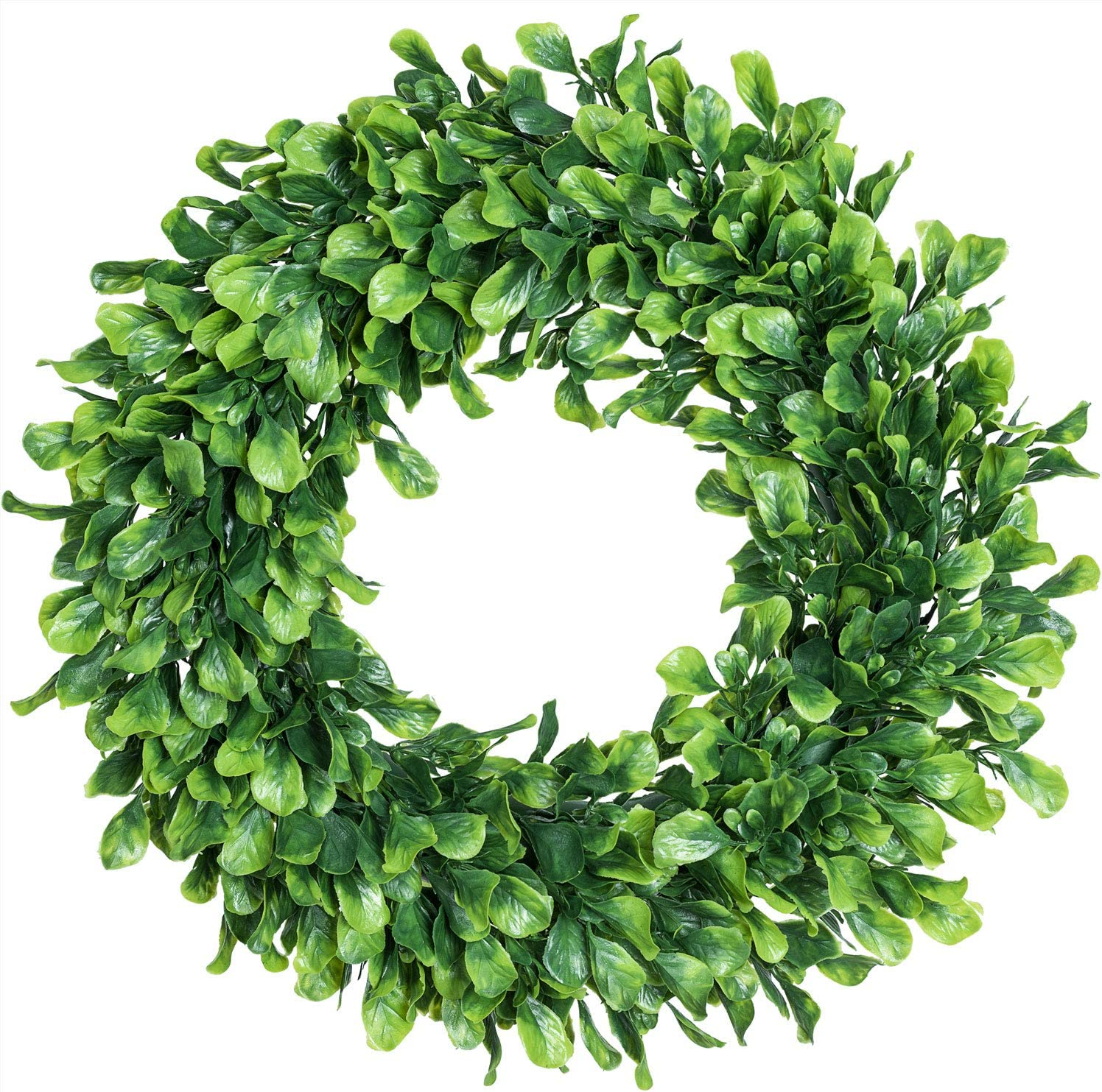 Lvydec Artificial Green Leaves Wreath 15 Boxwood Wreath Outdoor Green Wreath For Front Door Wall Window Party Décor Amazon Co Uk Kitchen Home