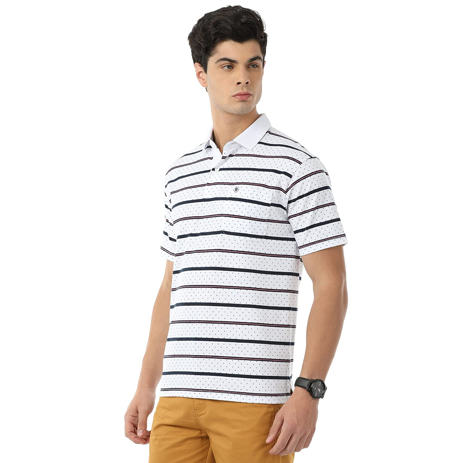 acd065912 Classic Polo White Striped Slim Fit T-shirt for Men: Amazon.in: Clothing &  Accessories