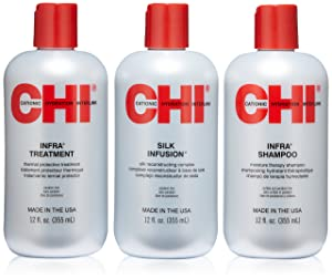 CHI Trio Kit with CHI Infra Shampoo, CHI Infra Treatment and CHI Silk Infusion