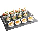 VonShef 13 Piece Tapas Appetiser Set with Slate Board Ideal for Dining, Buffet, Desserts