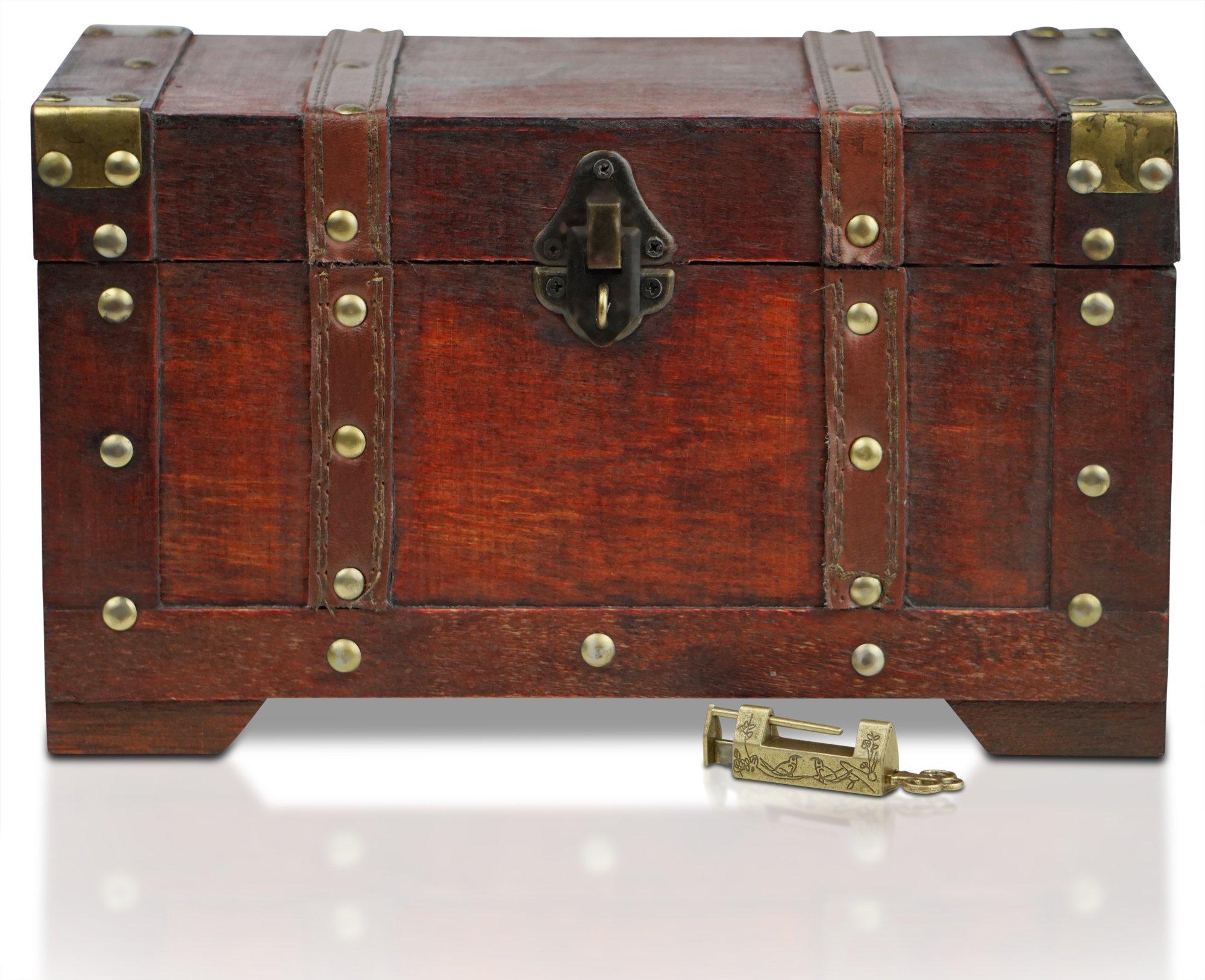 Brynnberg - Caja de Madera Cofre del Tesoro con candado Pirata de Estilo Vintage, Hecha