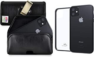 product image for Turtleback Hybrid Case/Pouch Combo Designed for New iPhone 11 (2019) 6.1 Inch, Anti-Scratch Ultra Clear Back Protective Case Fitted in Black Leather Holster Heavy Duty Rotating Clip-Horizontal/Black