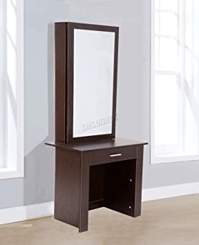 purchase cheap 2f24d 6ac82 FoxHunter WestWood Vanity Wooden Makeup Jewelry Dressing Table With Sliding  Mirror Drawer Bedroom Morden Furniture DT04 Walnut