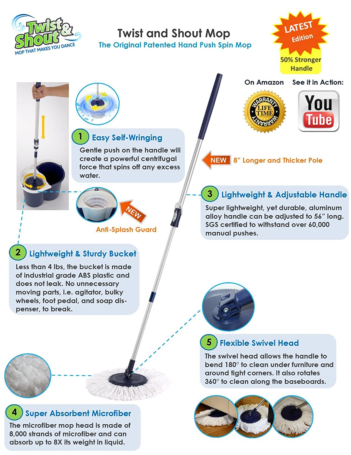 Twist and shout mop review - Amazon Com Twist And Shout Mop The Original Hand Push Spin Mop Life Time Warranty 2 Microfiber Mop Heads Included Home Kitchen