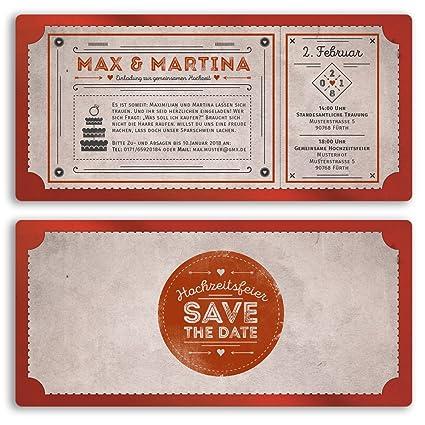 Boda Invitaciones Vintage Retro Ticket Color Rojo Boda