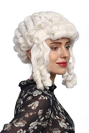 WIG ME UP ® - 90902-ZA60 Peluca señoras Carnaval Barroco históricamente rizos Blancos María