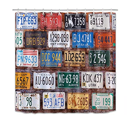 LB Old American Car Automobile License Plates Shower Curtain SetRural Utah Brick Building Wall