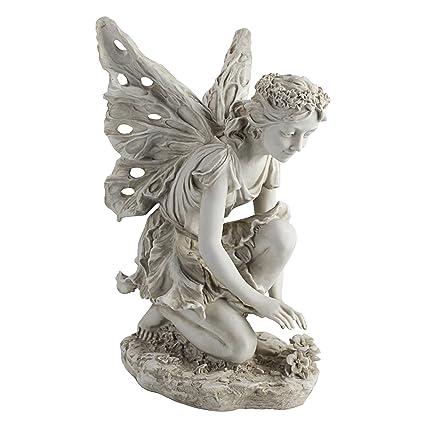 Gentil Design Toscano Fiona The Flower Fairy Garden Statue, 17 Inch, Polyresin,  Antique Stone
