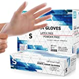 Powder Free Disposable Gloves Small, 1000 Count - 4 Mil Clear Vinyl Gloves- Extra Strong, 4 Mil Thick - Latex Free, Food Safe