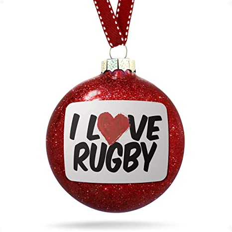 Image Unavailable - Amazon.com: NEONBLOND Christmas Decoration I Love Rugby Ornament