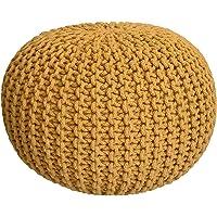casamia Gebreide kruk poef Ø 55 cm zitpoef zitpoef vloerkussen grof gebreide look extra hoog hoogte 37 cm (geel)