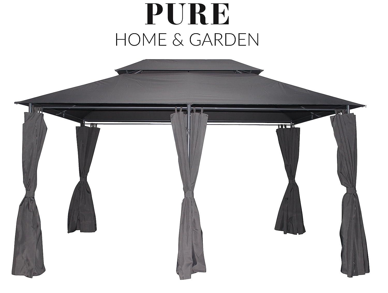 Pure Home & Garden Garden Garden Luxus Pavillon Capiata Anthrazit, UV-Schutz 40 Plus, inkl. Aller Seitenteile, 300 x 400 cm 38a5e4
